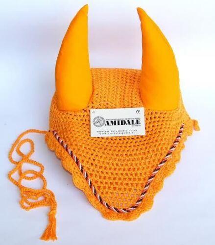 Oreille filet crochet fly veil équitation cheval avec passepoil couleur orange pleine s//n poney