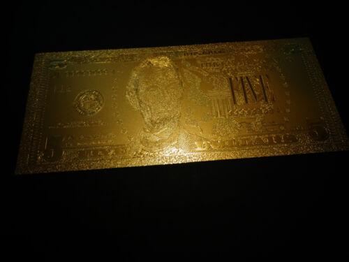 24 KARAT 99.9/% GOLD USA 2009 $ 5 DOLLAR MINT BILL-COMES IN RIGID PVC BILL HOLDER
