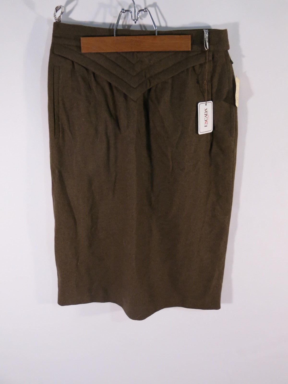 NWT Escada Green Wool Pencil Skirt Size 40 US 10 M L Vintage SRB W Germany