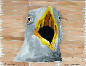 seagull-acrylic-art-painting-on-chip-shop-forks-Seaside-beach-fish-and-chips-2