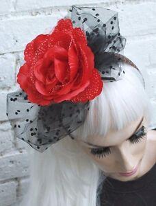 image is loading black net halloween corpse bride vampire red flower
