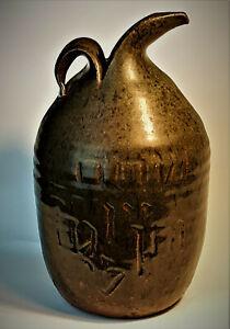 Shalom-Hebrew-Studio-Pottery-Stoneware-Jug-Bottle-Soda-Glazed-Vintage-OOAK-Rare