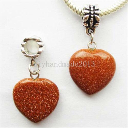 Mixed Stone Heart //Tibetan silver Fit European Bracelet Necklace U366 Wholesale