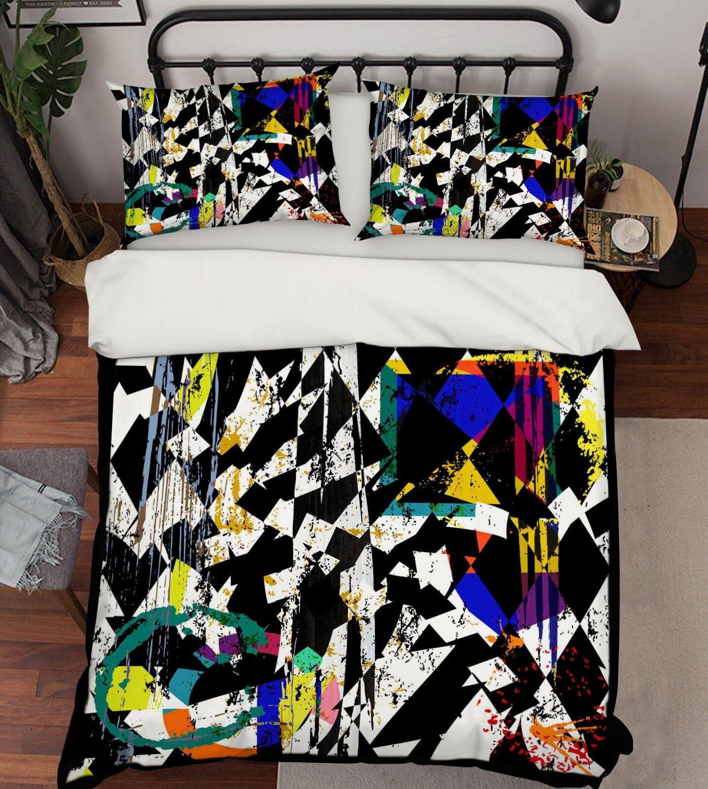 3D Hazy Pattern Bed Pillowcases Quilt Duvet Cover Set Single Queen King Größe AU