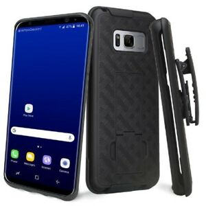 Black-Shell-Hard-Belt-Clip-Holster-Stand-Case-Cover-for-Samsung-Galaxy-S8
