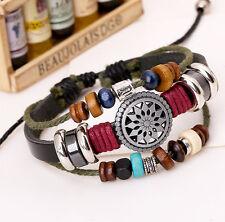 Men Women Jewelry Fashion Infinity Leather Charm Bracelet lots Beads Cross Style