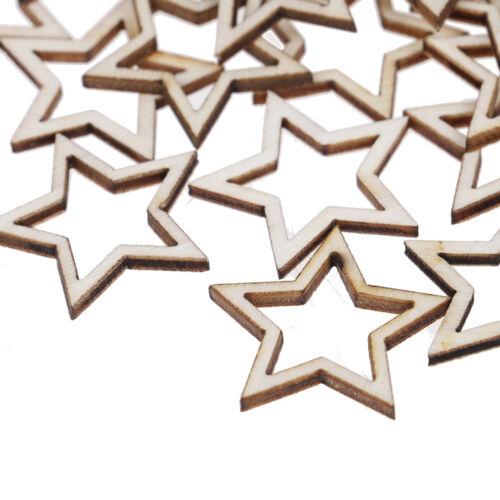 50pcs Wooden hollowed Stars Shape For Embellishments DIY craft Decoration .rd