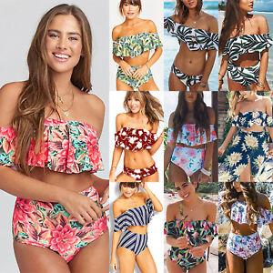 802729cdb04 Women Off Shoulder Ruffle Bikini Set Padded Bra Swimsuit Swimwear ...