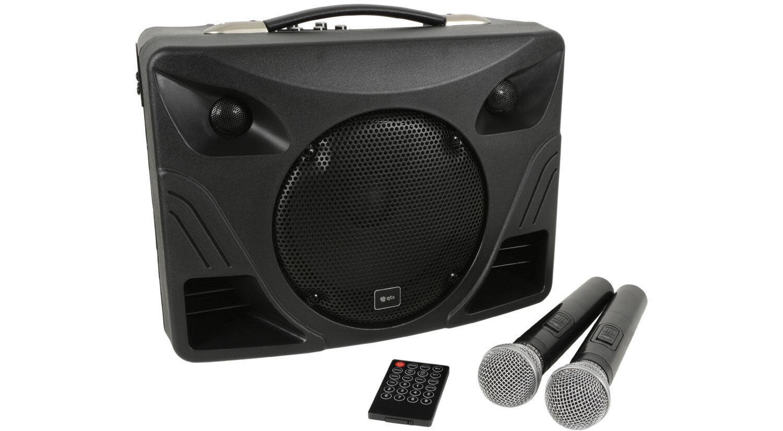 QTX Delta 50 Portable PA Sound System Bluetooth USB inc 2x Wireless Mic