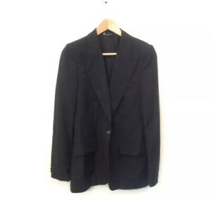 Gucci-Jacket-42-Black-Pin-Stripe-Long-Sleeve-Blazer-Women-039-s-Career-V-Neck