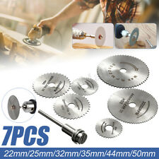 7PC HSS Circular Wood Cutting Saw Blade Discs + 1x Mandrel Drill For Rotary Tool