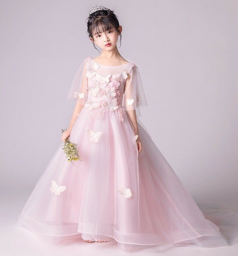 Flower Girl Pink Dress Floor Length Bridesmaid Pageant Wedding Prom Gown ZG9