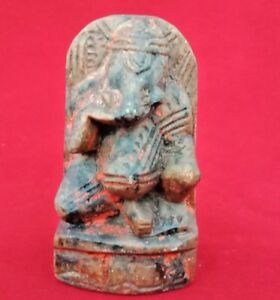 Old Antique Hand Carved Rare Brown Stone Lord Ganesha