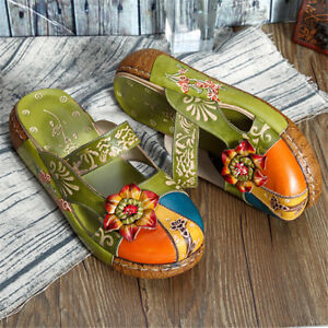 810622450fcfb Details about Vintage Women Colors Slip On Casual Mules Slippers Boho Flip  Flops Sandal Shoes