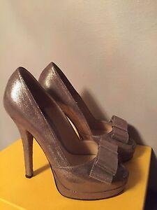 d6733ca1 Details about FENDI Bronze Platform Bow Peep Toe Pumps Size 38