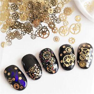 Ultra-thin-Manicure-Nail-Art-Golden-Gear-Wheel-Steam-Punk-Manicure-Tips-Decor