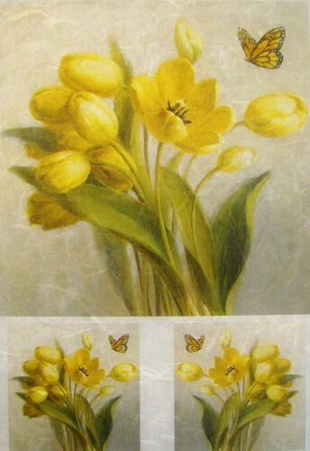 Papel De Arroz Decoupage Scrapbook Craft Amarillo Tulipanes 619