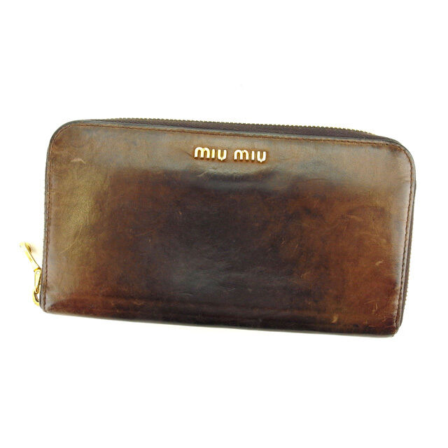 miumiu Wallet Purse Long Wallet Logo Brown Gold Woman Authentic Used E977