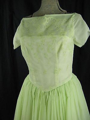 100% Wahr Vtg 60-70s Hellgrün Illusion Spitze 50er Jahre Inspiriert Abiball Dress-bust
