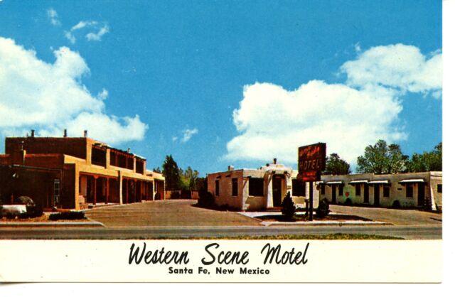 Western Scene Motel Building-Santa Fe-New Mexico-Vintage Advertising Postcard