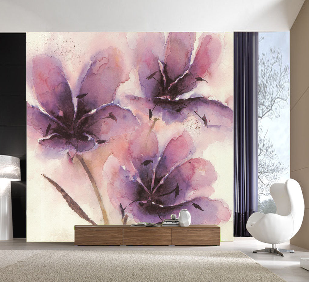 3D lila Petal Paint 4 Wall Paper Wall Print Decal Wall Deco Indoor Mural Carly