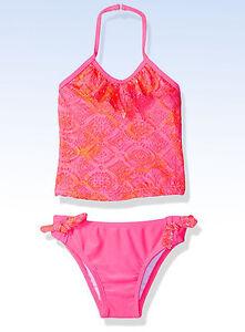 e7cd4aef58200 JANTZEN Girls  Tie-Dye Crochet Ruffle TANKINI Swimsuit Neon PINK ...