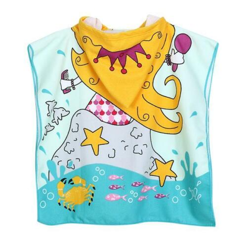 Mermaid Shark Hoodie Towel Hooded Beach Pool Poncho Kids Boy Girl  LD