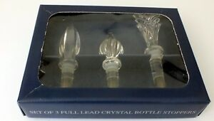 Set-of-3-TOWLE-Crystal-Bottle-Stoppers-Three-Distinct-Designs-Austria-New-in-Box