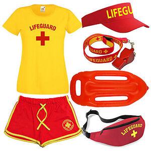 Womens-039-Lifeguard-039-Costume-Fancy-Dress-Set-Ladies-T-Shirt-Shorts-Options