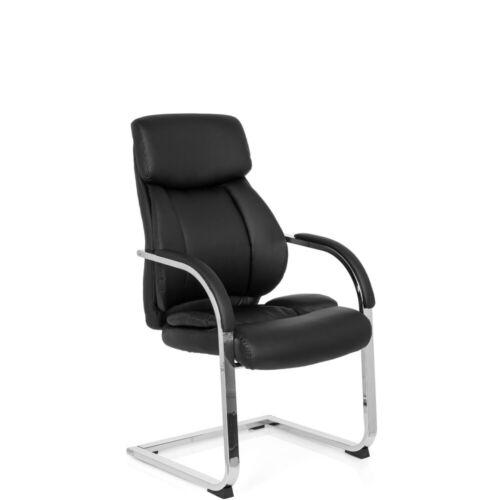 Konferenzstuhl Freischwinger Besucherstuhl schwarz VISITER CL130 Kunstleder