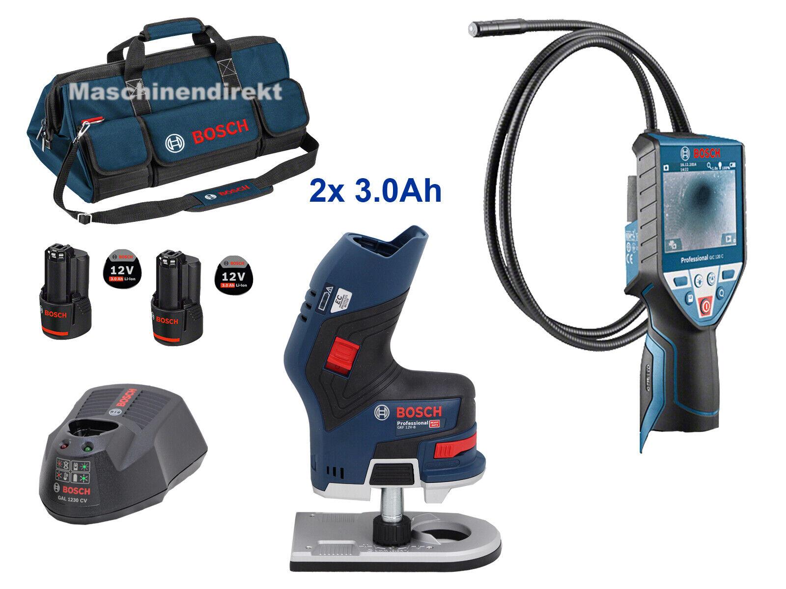 Bosch Akku Inspektionskamera GIC 120 C + Akku Kantenfräse GKF 12V-8 + 2 x 3.0Ah