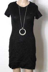 Kleid-Gr-34-36-schwarz-knielang-Kurzarm-Stiefel-Strick-Kleid