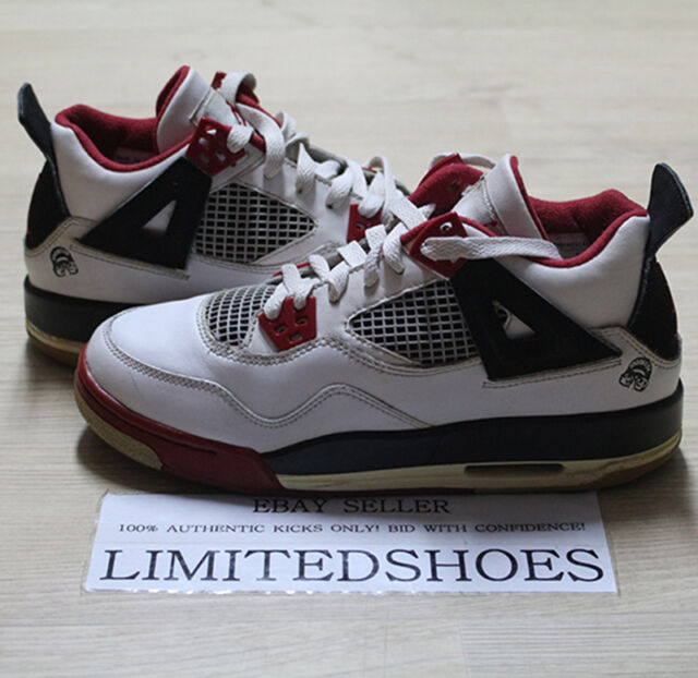 online retailer e571d cfa41 NIKE AIR JORDAN 4 IV RETRO GS WHITE VARSITY FIRE RED BLACK 308498-162 US