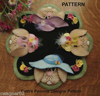 Pattern in Their Easter Bonnets Wool Applique Penny Rug Candle Mat Pattern