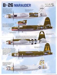 B-26 B/C Marauder: 320, 323, 344, 394 BG (1/72 decals, Iliad 72005)