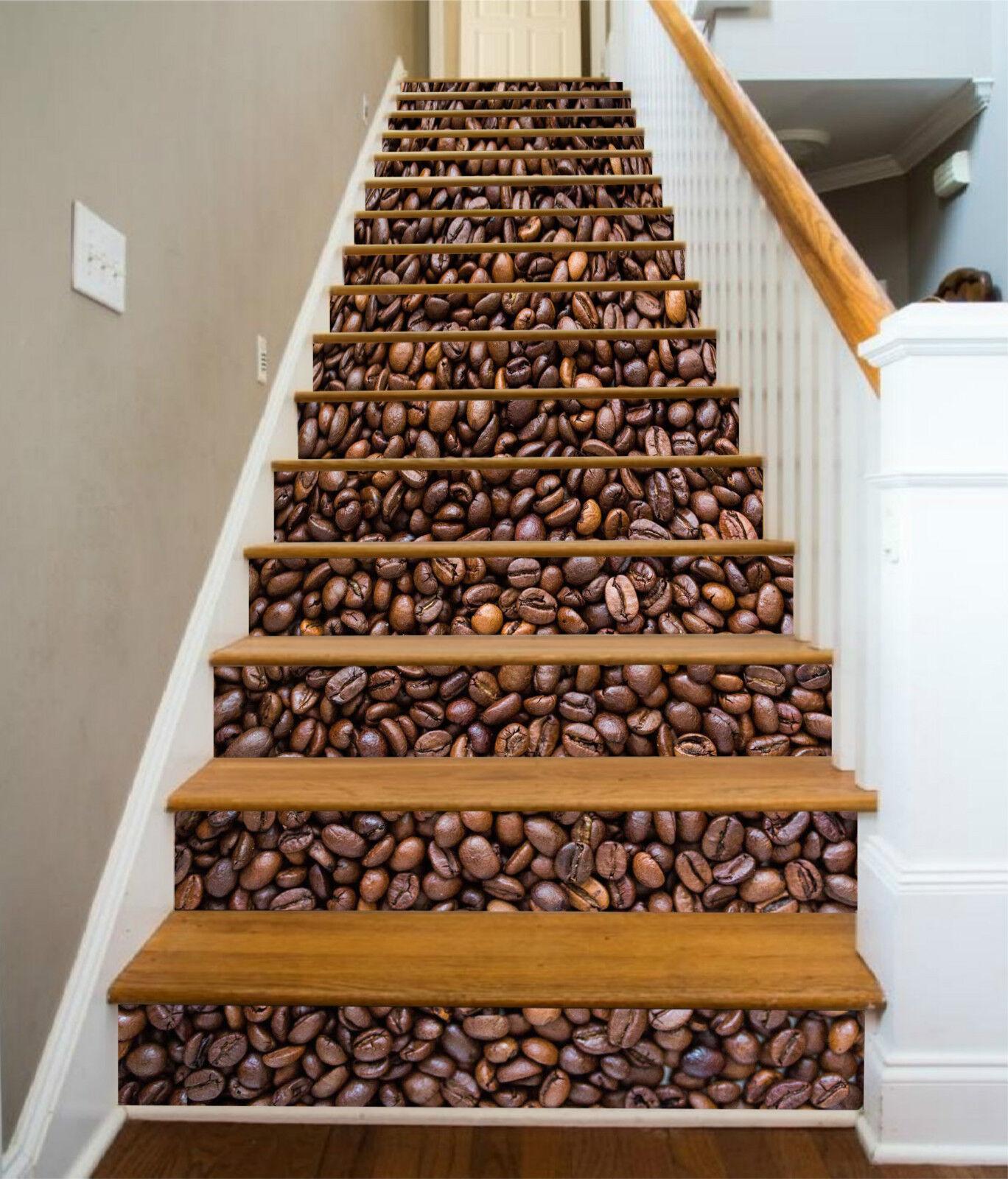 3D Kaffee Bohnen 32 Stair Risers Dekoration Fototapete Vinyl Aufkleber Tapete DE