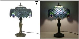 Tiffany Lamp W12 H18 Inch Blue Red Berry Baroque Style Stained Glass Shade