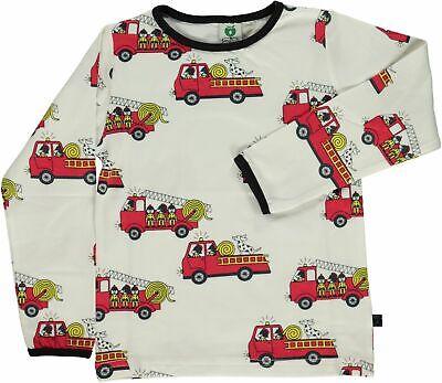 * Nuovo * Smafolk Top-color Crema Con Camion Dei Pompieri-taglia 9-10y-mostra Il Titolo Originale