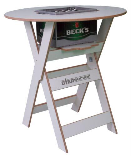 Stehtisch Bierserver Partytisch mit Bierkasten-Fach klappbar Biertisch weiß