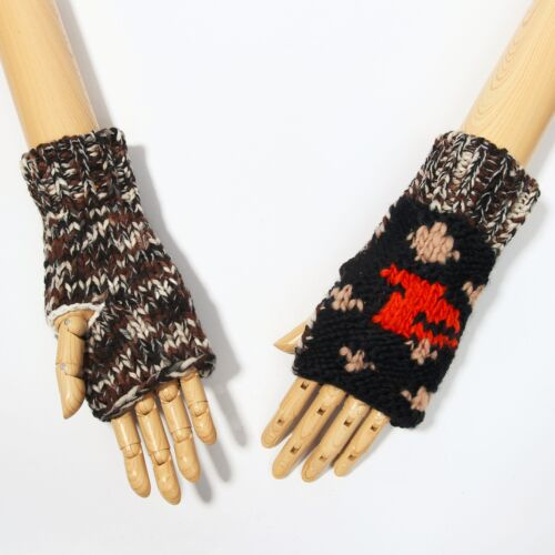 Black w Big Beige Dots Knitted Fingerless Gloves for Fall /& Winter
