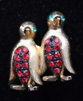 Signed Jj Goldtone Red Rhinestones Double Pinguins Pin Brooch