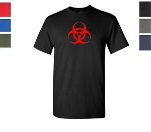 Warning Label Adult Mens T-Shirt Biohazard