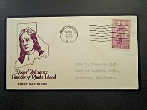 US-SC-777-FDC-Roger-Williams-Cachet-Z5620