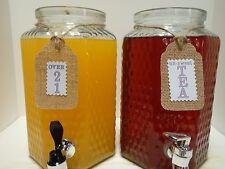 Primitive Country Wedding Purple Beverage Container Over 21 Tea Lemonade Tags M9