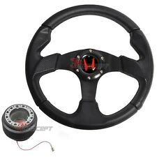 For 92-95 Honda Civic EG JDM 320mm 6-Bolt Steering Wheel & Hub Adapter & Emblem
