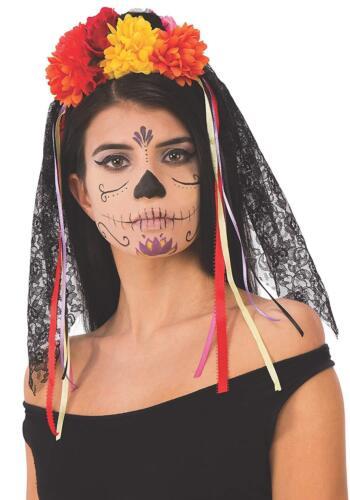 Veil Headband Skull Skeleton Day Dead Fancy Dress Up Halloween Costume Accessory