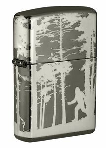 Zippo-Squatchin-039-In-The-Woods-Design-Black-Ice-360-Windproof-Pocket-Lighter