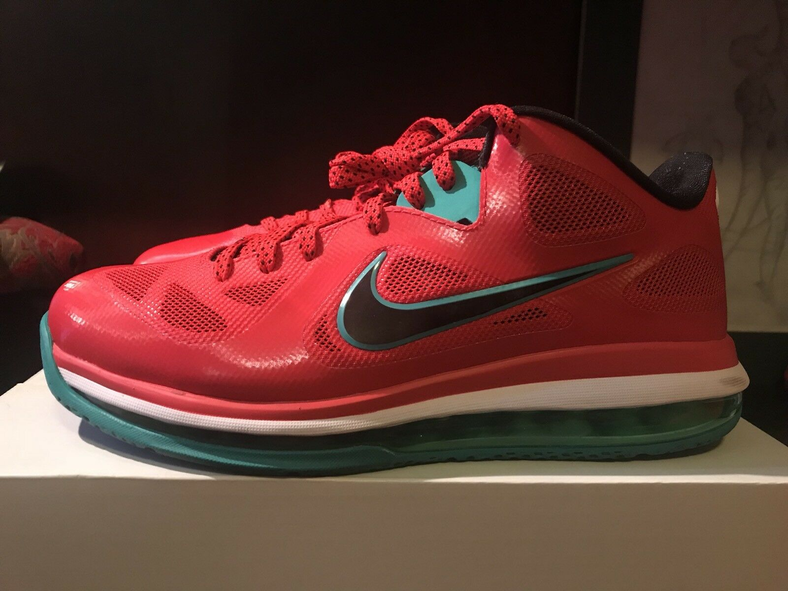 162cb9f0cd1 Nike Lebron 9 IX Low Red Liverpool Watermelon RARE VNDS 9.5 Canon South  beach 39f1ff