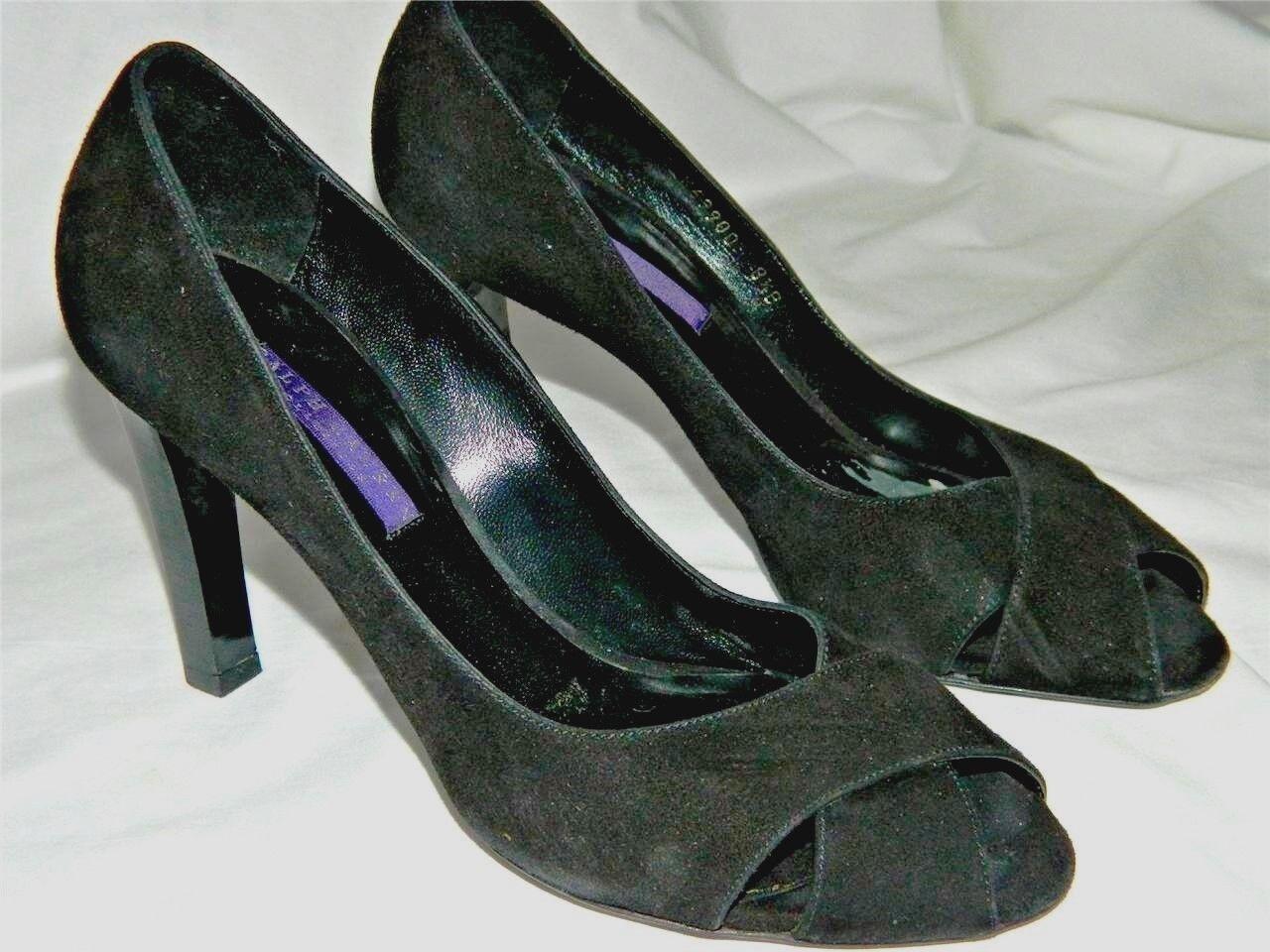 Ralph Lauren Purple Label Collection Black Suede Peep Toe Classic Pump shoes 8.5