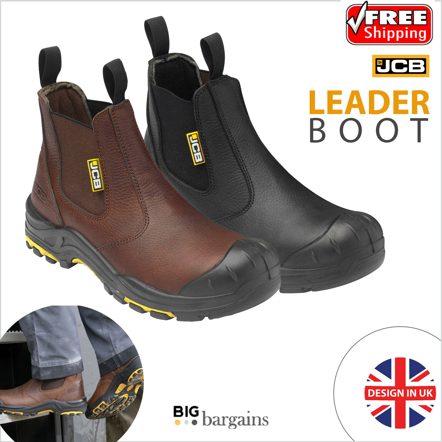 JCB Mens Chelsea Leather Dealer Boot Steel Toecap Composite Mid-sole Safety Boot